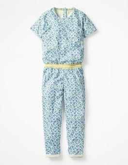 Grotto Blue Ditsy Floral Printed Jersey Jumpsuit