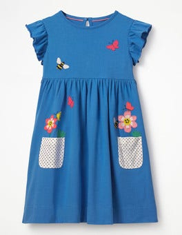 Penzance Blue Appliqué Pocket Dress