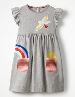 Grey Marl Appliqué Pocket Dress