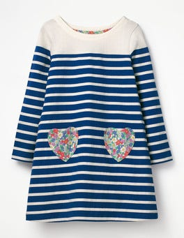 Orion Blue/Ecru Heart Pocket Jersey Dress