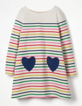 Rainbow Breton Multistripe Heart Pocket Jersey Dress