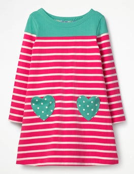 Strawberry Split Pink/Ecru Heart Pocket Jersey Dress