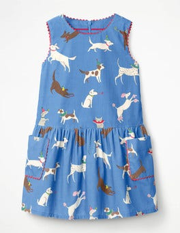 Penzance Blue Party Pups Cord Pinafore Dress
