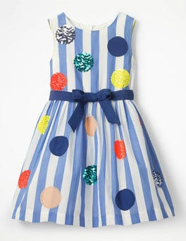 Penzance Blue Stripes Bright Sequin Spotty Dress