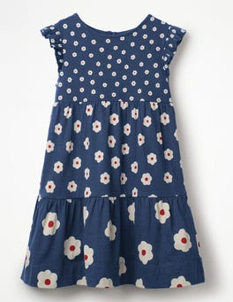 Starboard Blue Daisies Tiered Jersey Dress