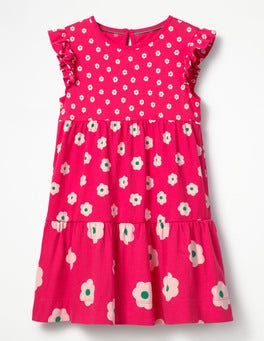 Strawberry Split Pink Daisies Tiered Jersey Dress