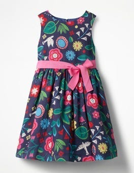 Deep Sea Blue Floating Flowers Vintage Dress