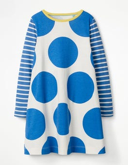Skipper Blue Jumbo Spots Jersey Swing Dress