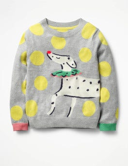 Grey Marl Dalmatian Fun Sweater