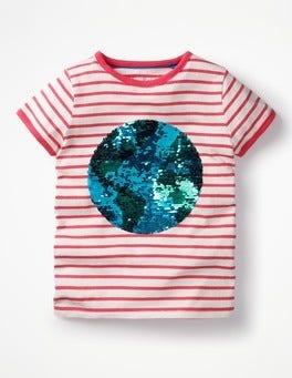 Ecru/Pink Planet Sequin Colour-change T-shirt