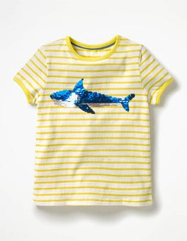 Ecru/Zest Yellow Shark Sequin Colour-change T-shirt