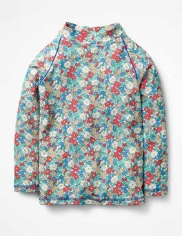 Oasis Blue Floral Long-sleeved Rash Vest