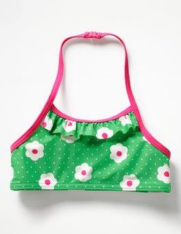 Summer Green Daisy Dots Pretty Bikini Top