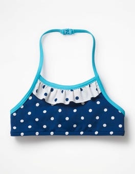 Deep Sea Blue/Ivory Spot Pretty Bikini Top