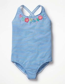 Ivory/Skipper Blue Flowers Floral Appliqué Swimsuit