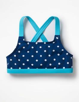 Deep Sea Blue/Ivory Spot Surf Bikini Top
