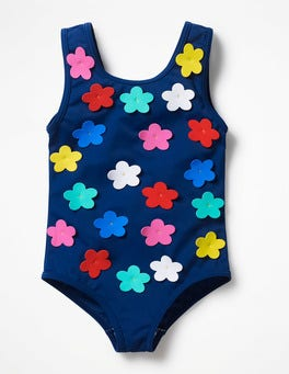 Deep Sea Blue/All Over Flowers Fun Detail Swimsuit