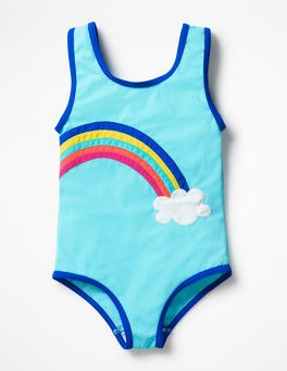 Light Blue Rainbow Fun Detail Swimsuit