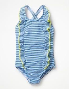 Ivory/Skipper Blue Ticking Stripe Swimsuit