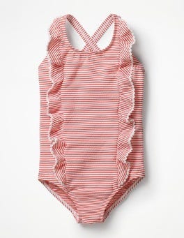 Ivory/Melon Crush Orange Ticking Stripe Swimsuit