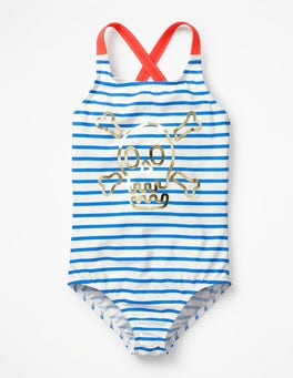 Ivory/Oasis Blue Skull Cross-back Swimsuit