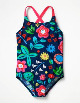 Deep Sea Blue Floating Flowers Cross-back Swimsuit