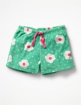 Summer Green Daisy Dots Adventure Towelling Shorts