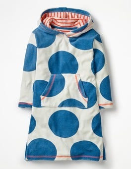 Ivory/Skipper Blue Jumbo Spot Towelling Beach Dress
