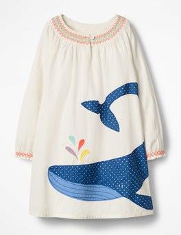 Ivory Whale Appliqué Kaftan