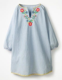 Ivory/Skipper Blue Flowers Embroidered Kaftan