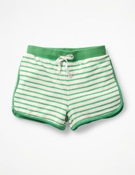 Ivory/Summer Green Towelling Beach Shorts