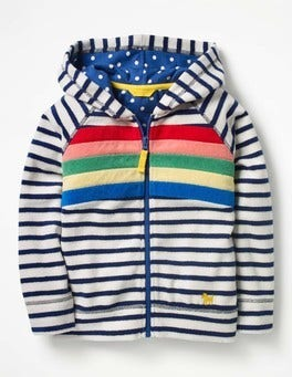 Ivory/School Navy Rainbow Towelling Zip-up Hoodie