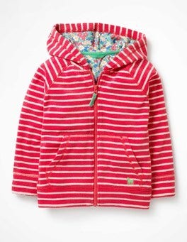 Ivory/Strawberry Split Pink Towelling Zip-up Hoodie