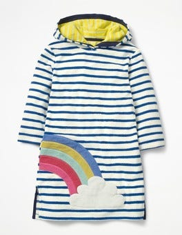 Ivory/Chelsea Blue Rainbow Appliqué Towelling Beach Dress