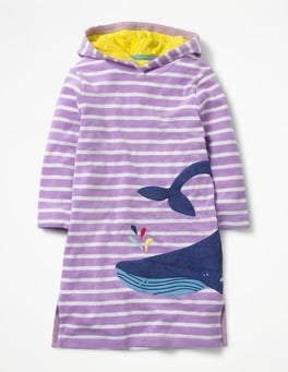 Lavender Purple/Ivory Whale Appliqué Towelling Beach Dress