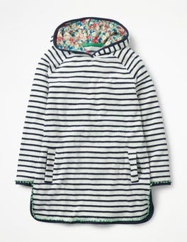 Ecru/School Navy Stripy Towelling Dress