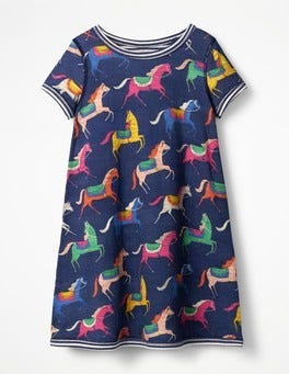 Starboard Blue Carousel Ponies Reversible Jersey Dress