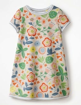 Grey Marl Floating Flowers Reversible Jersey Dress