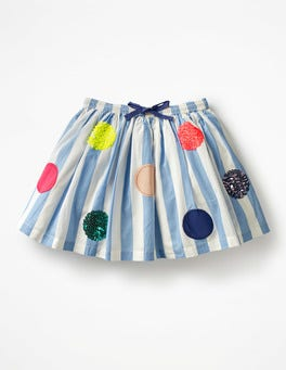 Penzance Blue/Ecru Bright Sequin Spotty Skirt
