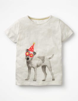 Ivory/Dog Printed T-shirt