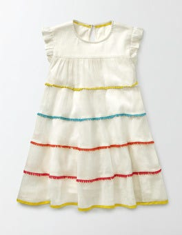 Ivory Woven Twirly Dress