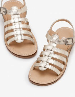 Pale Gold Leather Gladiator Sandals