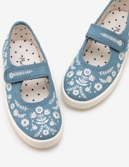 Chambray Blue Canvas Mary Janes