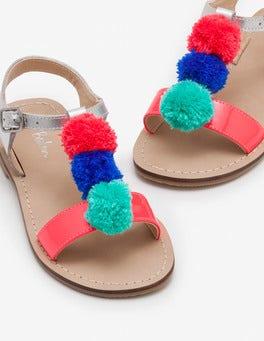 Silver Metallic Pompom Sandals
