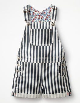 Mid Blue Stripe Short Overalls