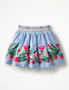 Penzance Ticking Stripe Colourful Appliqué Skirt