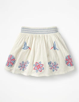 Ivory Gingham Flowers Colourful Appliqué Skirt