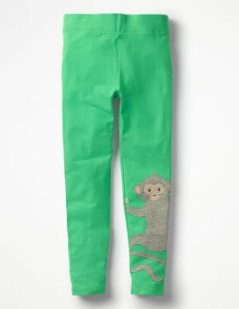 Peppermint Green Monkey Appliqué Leggings