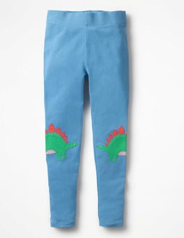 Penzance Blue Dinosaurs Appliqué Leggings