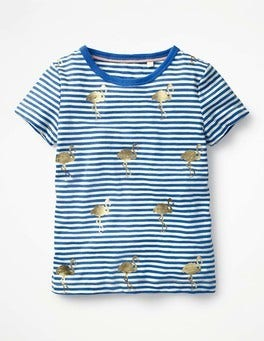 Skipper Blue/Ivory Flamingos Stripe and Shine T-shirt